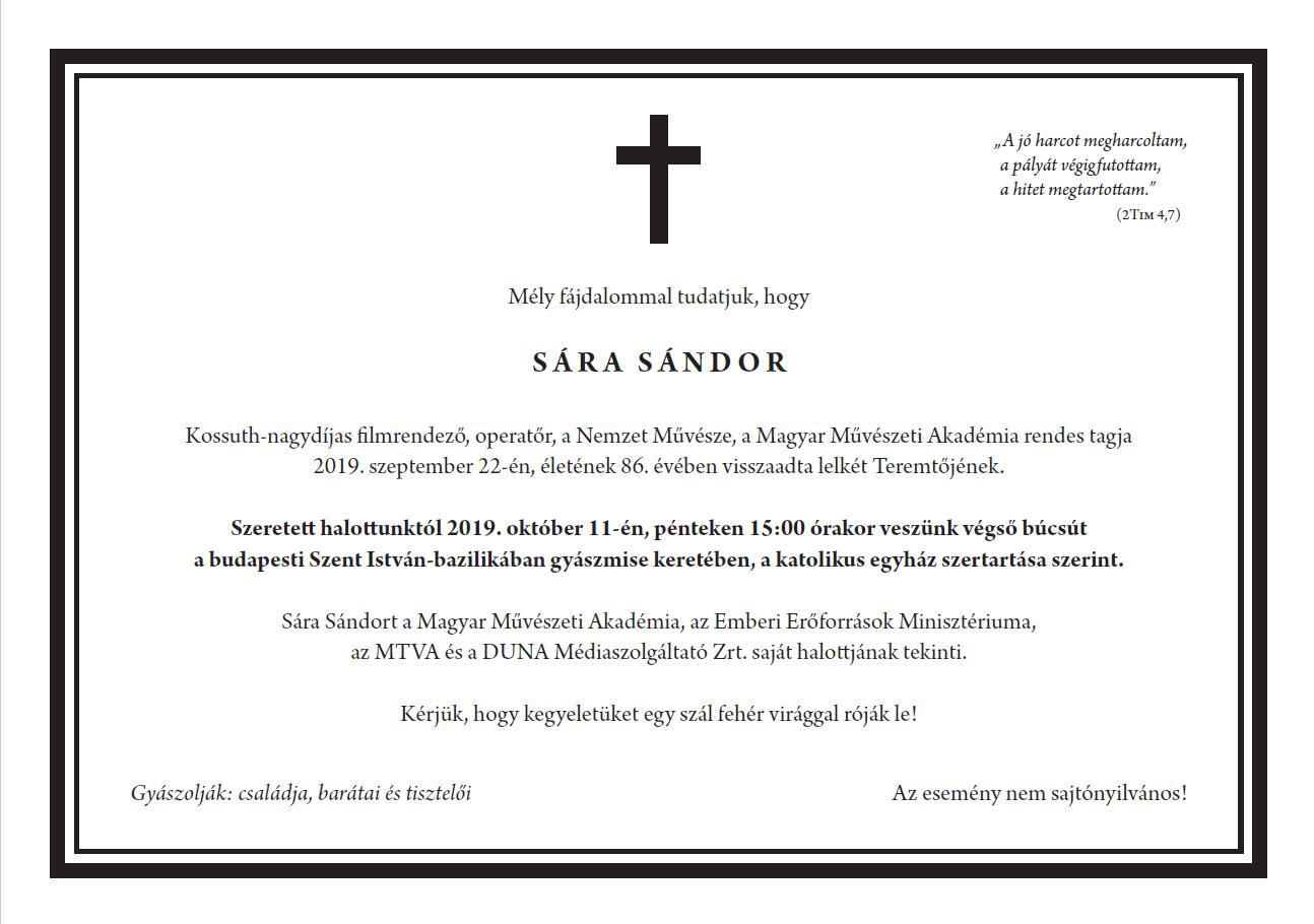 Gyászjelentés – Sára Sándor
